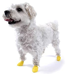 PAWZ Disposable Reusable Boots - 12 Pack XX Small in Yellow