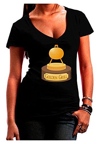 Tooloud Golden Grill Trophy Juniors V-Neck Dark T-Shirt - Black - Medium