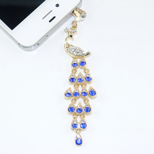 AYAMAYA Bling Crystal 3.5mm Anti-Dust Cellphone Charms Rhinestones Peacock Ear Jack Dustproof Plug Stopper for iPhone 6 6S 6Plus 5 5S 4S Samsung Galaxy S6 S5 S4 S3 S2 iPad Android Smart Phone,Blue (S5 Anti Dust Plug compare prices)