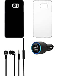 NIROSHA Cover Case Car Charger Headphone for Samsung Galaxy Note 5 - Combo