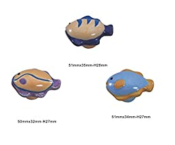 Set of 3 Ocean Fishes Ceramic Cabinet Knob Drawer Pull Handle (3 Colors)