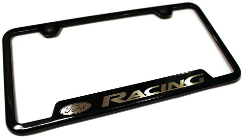 Ford Racing Stainless Steel License Plate Frame Logo Tag Black Coated Gloss
