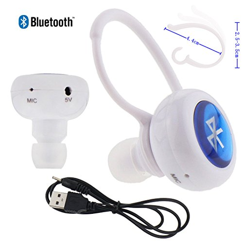 Ancerson Universal Single Track Mono Ear Hook Single Earpiece Wireless Bluetooth Earphone With Microphone Mic Headset For Smart Phones& Tablet Pcs With Bluetooth Founction Such As Ipod, Iphone 4 4S 5 5C 5S 6 6Plus, Samsung Galaxy S3 I9300/ S4 I9500/ S5 I9