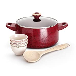 Click to buy Cookware Reviews: Paula Deen Porcelain 6 Piece Cookware Soup and Stew, Red from Amazon!