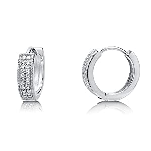 BERRICLE Sterling Silver Cubic Zirconia CZ Fashion Hoop Huggie Earrings 0.56