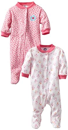 Gerber Baby-Girls  2 Pack Sleep N Play Snap Front Cats, Pink/White, 6-9 Months