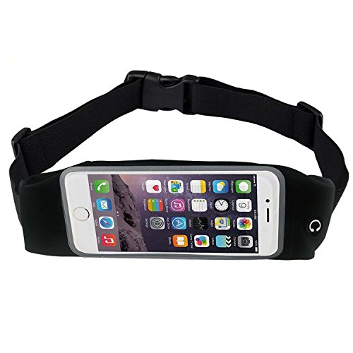 Bee Exercise, Running Waist Pack for 5.5 Inch Screen Cellphone – Outdoor Belt Bag – Touch Operating Directly With Transparent Film, Black Color