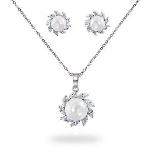 Bling Jewelry Bridal South Sea Pearl Silver Tone CZ Swirl Pendant Earrings Set