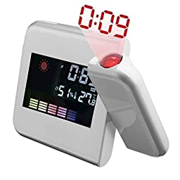 Smileto® Digital Weather Projector Alarm Clock With Color Screen Calendar, Weather Temperature,Humidity, Wall Projection, Alarm Snooze, LED Backlight, Included DC Adapter (White)