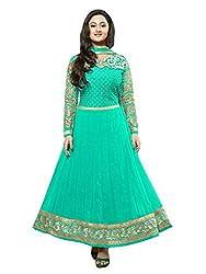 Shree Hans Creation Rama Blue Georgette Anarkali Dress Material