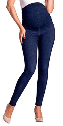 Zeta Ville - Womens Maternity Elastic Pants Denim Look Leggings Waistband - 948c (Navy Jeans, US 2/4, M)