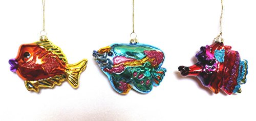 Set of 3 Blown Glass Tropical Fish Christmas