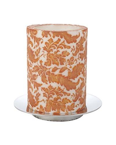 Et Al Designs Orange & Cayenne Leaves White Pillar Candle