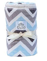 LUXE BABY Chevron Baby Blanket, Grey-Blue