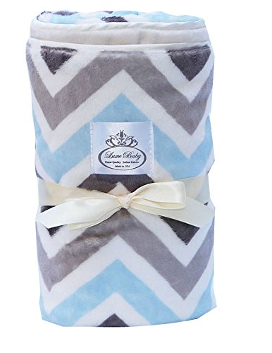 LUXE BABY Chevron Baby Blanket, Grey-Blue