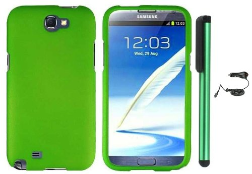=>  Grass Green Design Protector Hard Cover Case for Samsung Galaxy Note II N7100 (AT&T, Verizon, T-Mobile, Sprint, U.S. Cellular) Android Smart Phone + Luxmo Brand Car Charger + Combination 1 of New Metal Stylus Touch Screen Pen (4