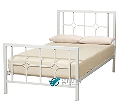 Contemporary Manhattan White Metal Bed Frame Chunky Modern 3FT Single 4FT 4FT6 Small Double 5FT King Size Bedstead