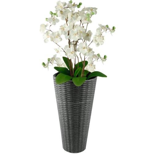 Rattan Blumentopf Übertopf Blumenkübel Pflanzenkübel in verschiedenen Ausführungen (Anthrazit Klein)