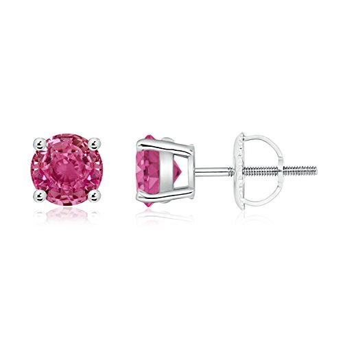 Basket Set Round Genuine Pink Sapphire Stud Earrings in Platinum (6mm Pink Sapphire)