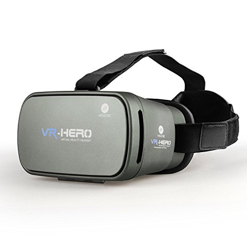 "HSEOK VR BOX Virtual Reality Headset 3D Video Movie Game Glasses, Enhanced Version with Adjustable Pupil and Object Distance for 4.0-6"" Android Smartphones, iPhones, Samsung Galaxy, etc. Silver grey"