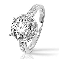 Pave-set Round Diamond Engagement Ring with a 0.5 Carat H SI2 EGLUSA Certified Center Stone and 0.35 Carats of Side Diamonds (0.85 Cttw)