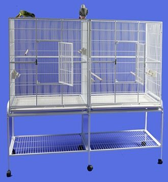 HQ 16421wh Side By Side Double Aviary - White