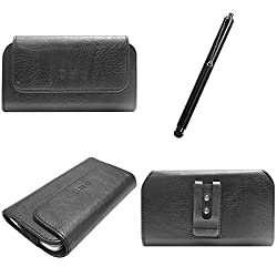 DMG Durable Cell Phone Pouch Carrying Case with Belt Clip Holster for Moto e XT1022 (Black) + Touch Screen Stylus