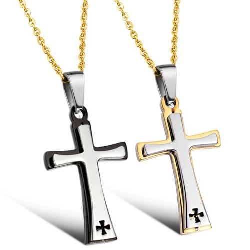 Opk Jewellery Necklaces Charms Stainless Steel Neckwear With Gold Chains Cross Pendants Necklets,Couples Necklaces
