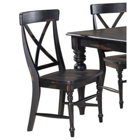 Set of 2 Roanoke X-Back Dining Side Chairs, Rubbed Black (Windsor Side Chair compare prices)