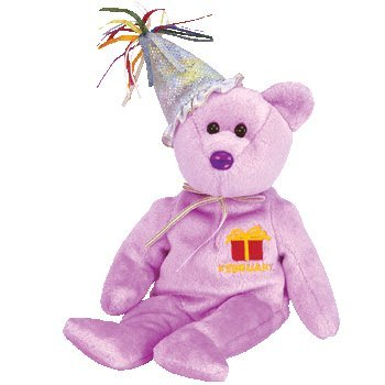 TY Beanie Baby - FEBRUARY the Teddy Birthday Bear (w/ hat)