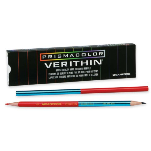 Prismacolor Verithin Colored Pencil, Red / Blue, 12-Pack (2456)