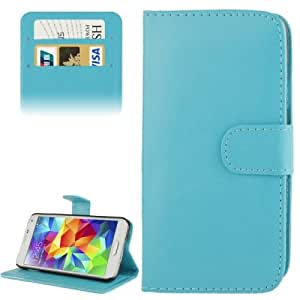 Crazy4Gadget Fine Sheepskin Texture Magnetic Button Horizontal Flip Leather Case with Card Slot & Holder for Samsung Galaxy S5 mini / G800(Blue)