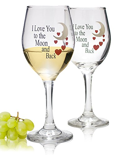 Wine Glass set with I Love You to the Moon and Back Standard Clear Wine Glass 14oz - Set of 2