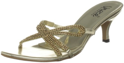 Unze Evening Slippers Womens Espadrilles L18159W Gold 4 UK
