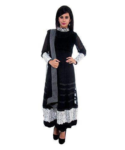 Shallay Women's Full Sleeve Designer Toe Length Celebrity Anarkali Suit With Resham Work on Borders and Sleeves and Kundan Work on Neck Line with Chiffon Dupatta