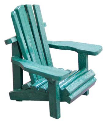 Wood Miniature Small Adirondack Chair With Green Weathered Look 4