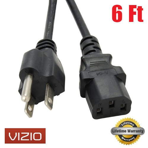 Amamax Ac Power Cord Cable 6Ft For Vizio Tv With Life Time Warranty