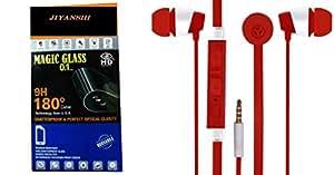 JIYANSHI Motorola Moto E2 Compatible Combo of Screen Guard/Screen Protector & Earphone With Deep Bass (Red)