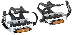 Diamondback 9 16-Inch Spindle Resin Alloy Bicycle Pedals with Toe Clips and Straps Black Silver