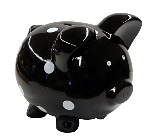 Jumbo Black Polka Dot Piggy Bank