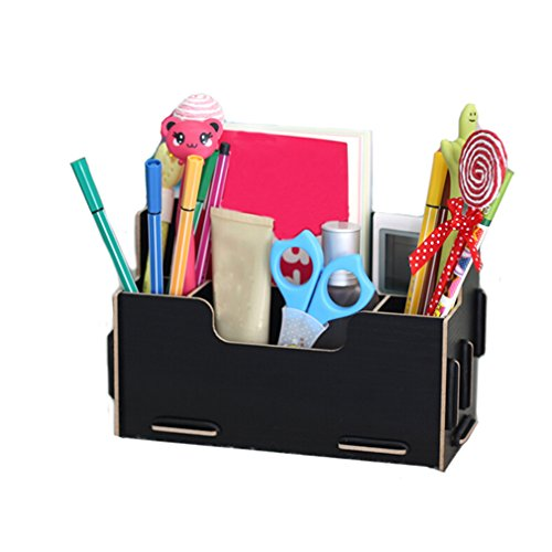 Multi-Functional Desktop Fashion Wooden Pen Container Box With Diy Lovely Business Pen Holder-Black front-60419