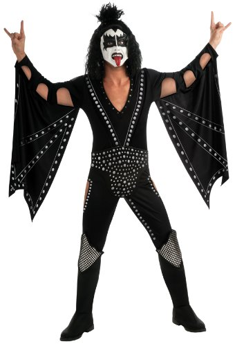 Kiss Deluxe The Demon Costume, Black, Medium