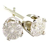 1/3 Carat Diamond Stud Earrings in 14K White Gold