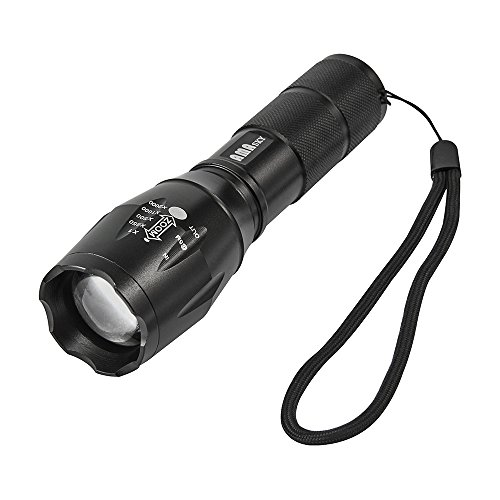 AMASKY(TM) CREE XLM-T6 Zoomable Bright LED Flashlight, 1600LM Torch Adjustable Focus Zoom Light Lamp for Outdoor Sports(Black) (Pistol Timer compare prices)