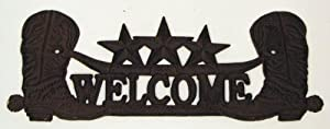 Quality Cast Iron Welcome Cowboy Boots Plaque Sign Western Home Decor