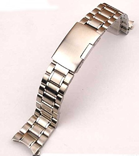 Change of pace! Watch replacement belt stainless steel solid triple bow カン式 push-(Silver 20 mm)