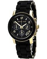 Women Michael Kors MK5191 Black Rubber Link Bracelet Gold Tone Stainless Steel