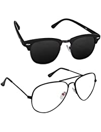 Magjons Fashion Combo Of Black Club Master And Clear Lens Aviator Sunglasses
