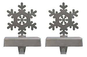 Silver Snowflake Stocking Hanger 2-Pack