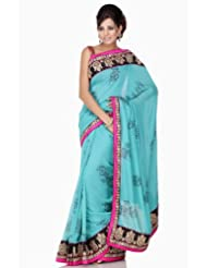 Chhabra555 Blue Faux Georgette Printed Embroidery Saree